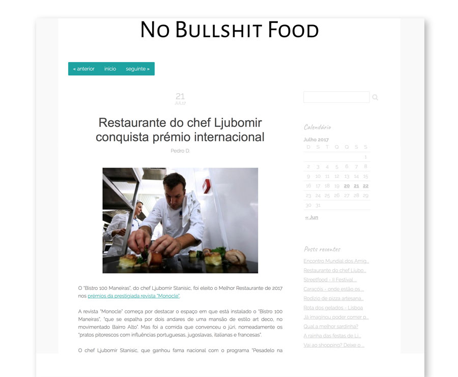 No bullshit food